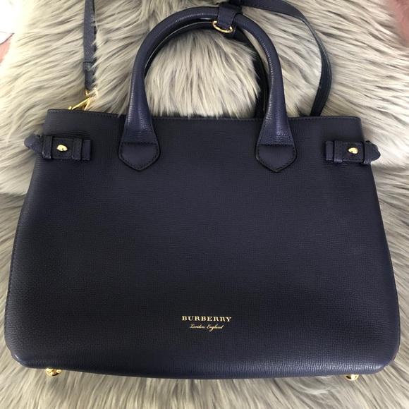 Burberry Handbags - Burberry Navy Blue House Check Medium Canvas Bag